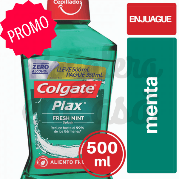 Enjuague Bucal COLGATE Plax Menta 500ml; Pague 350ml panaleraencasa
