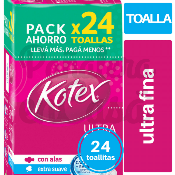 Toallitas KOTEX Ultra Fina x24 panaleraencasa